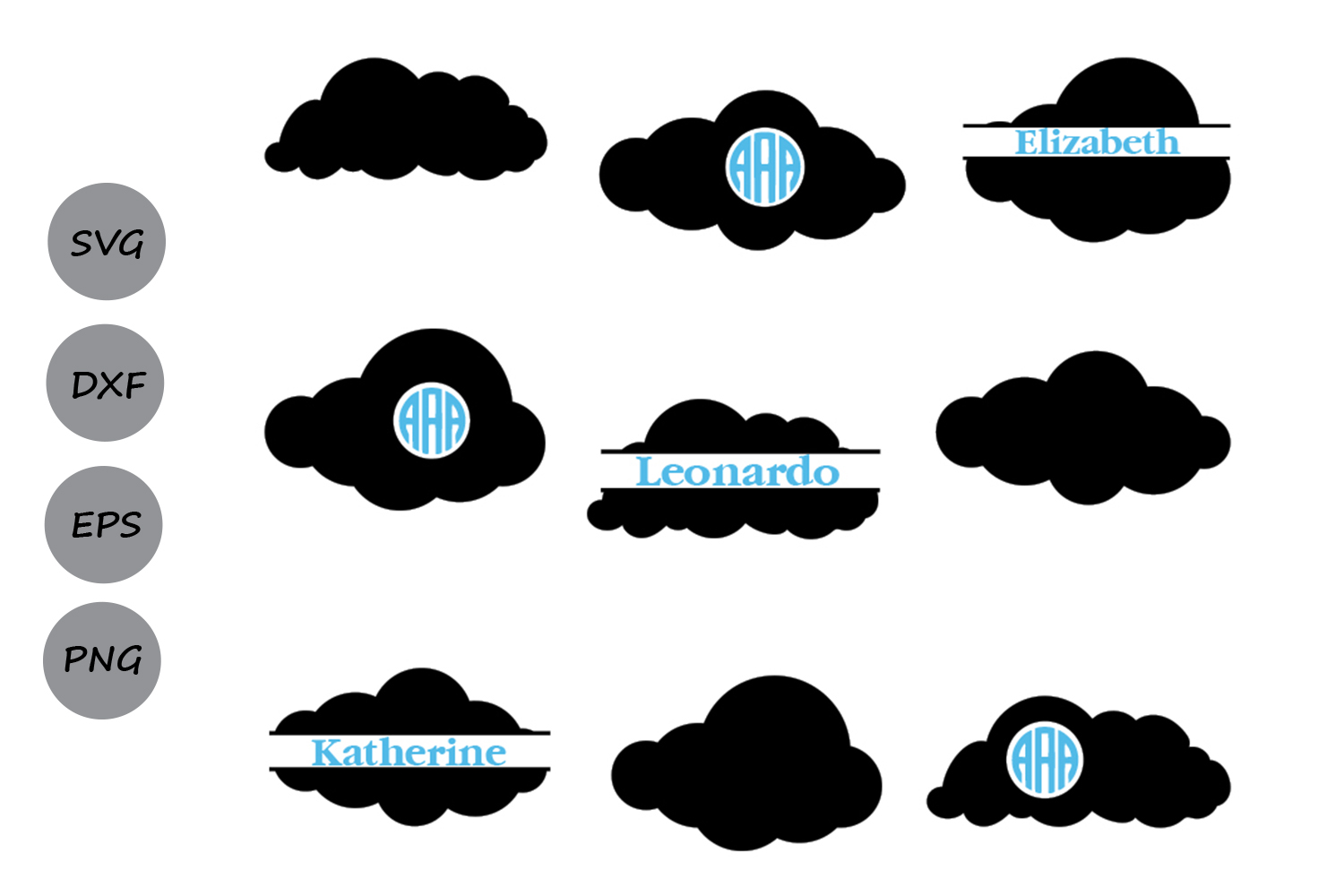 Download Free Cloud Monogram Graphic By Cosmosfineart Creative Fabrica for Cricut Explore, Silhouette and other cutting machines.