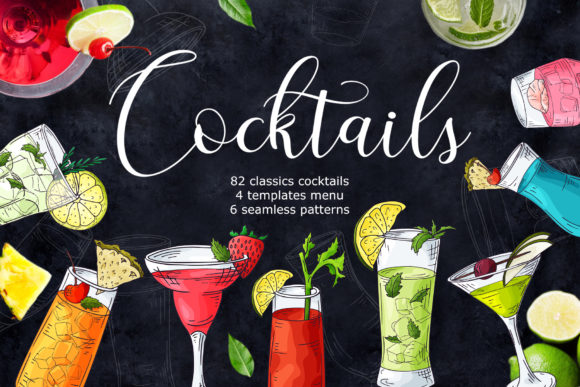 Cocktails Bundle + Bonus Graphic Illustrations By tregubova.jul
