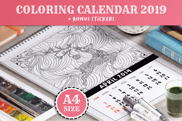 Coloring Book Xmas Calendar 2019 Graphic Print Templates By ilonitta.r - Image 1