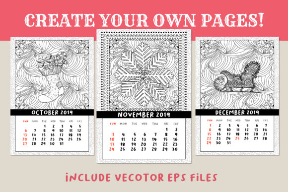 Coloring Book Xmas Calendar 2019 Graphic Print Templates By ilonitta.r - Image 7