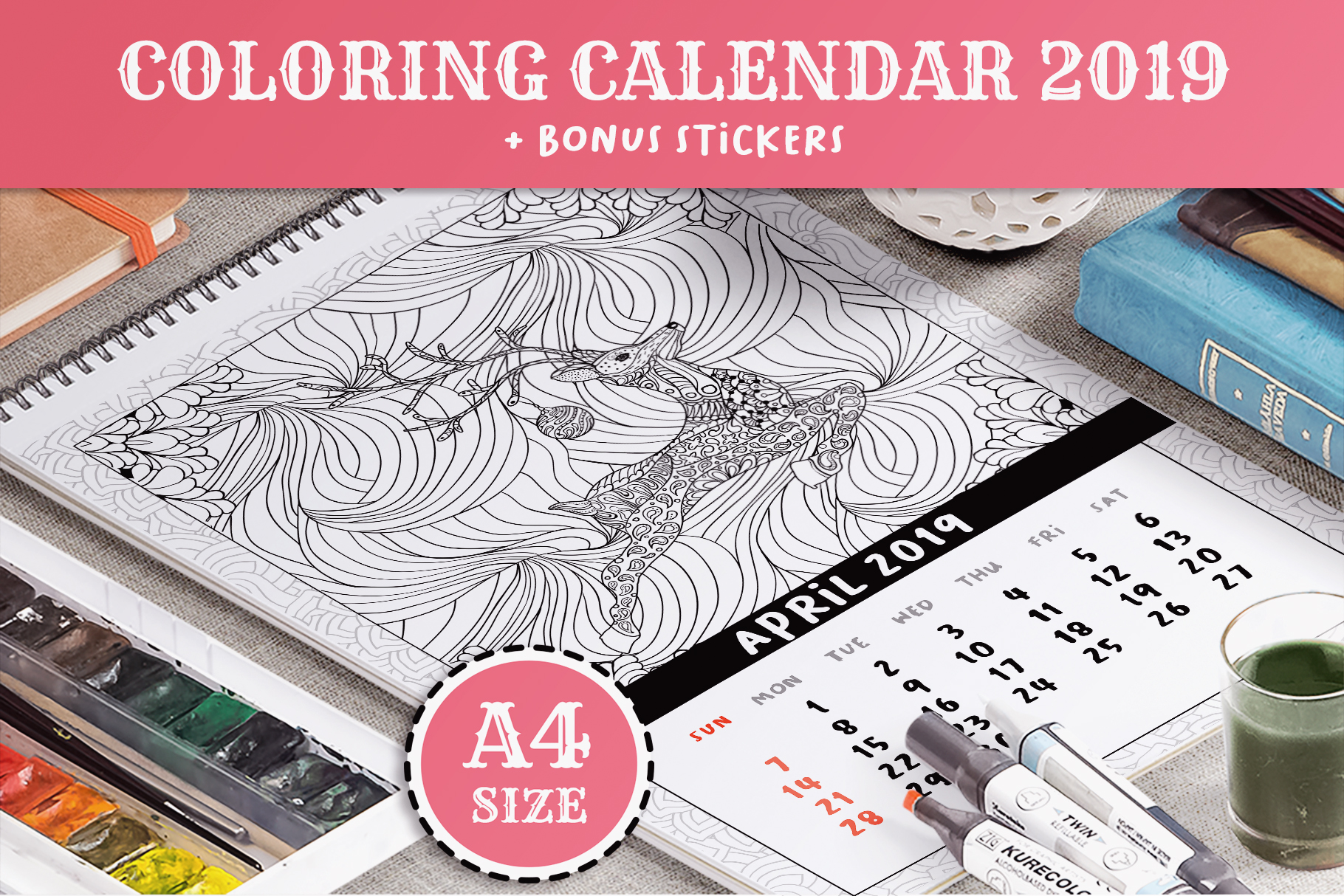 Download Free Coloring Book Xmas Calendar 2019 Graphic By Ilonitta R for Cricut Explore, Silhouette and other cutting machines.