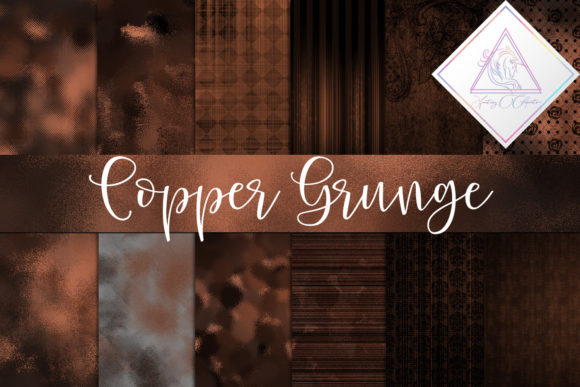 Print on Demand: Copper Grunge Digital Paper Graphic Textures By fantasycliparts