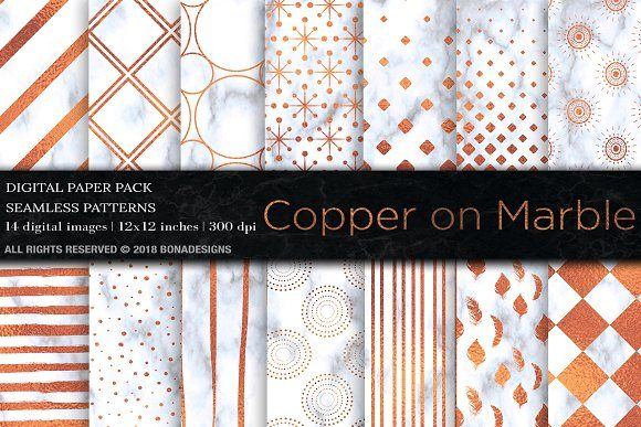 Copper Marble Digital Paper Graphic Patterns By BonaDesigns