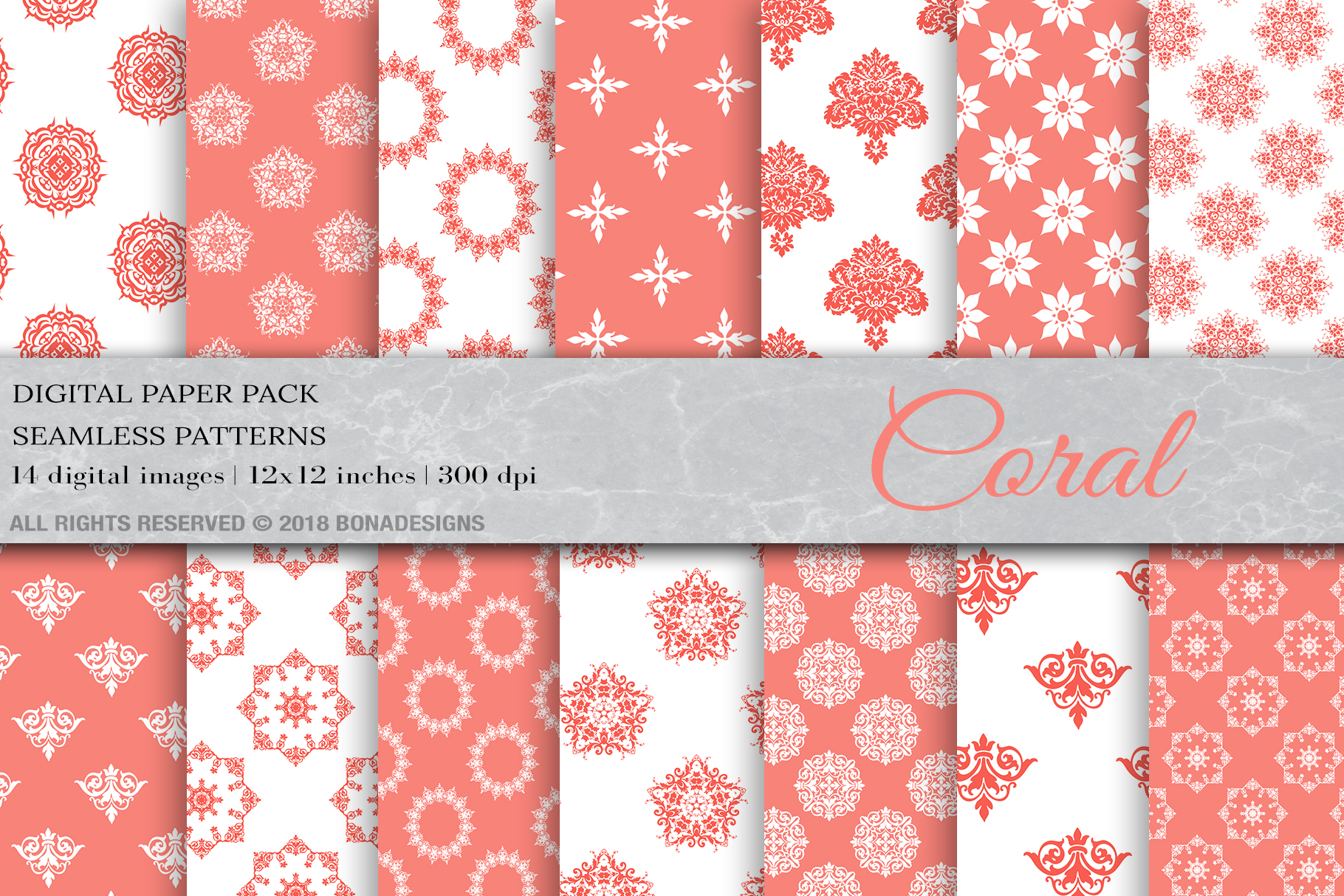 Download Free Coral Digital Paper Damask Digital Paper Graphic By Bonadesigns for Cricut Explore, Silhouette and other cutting machines.
