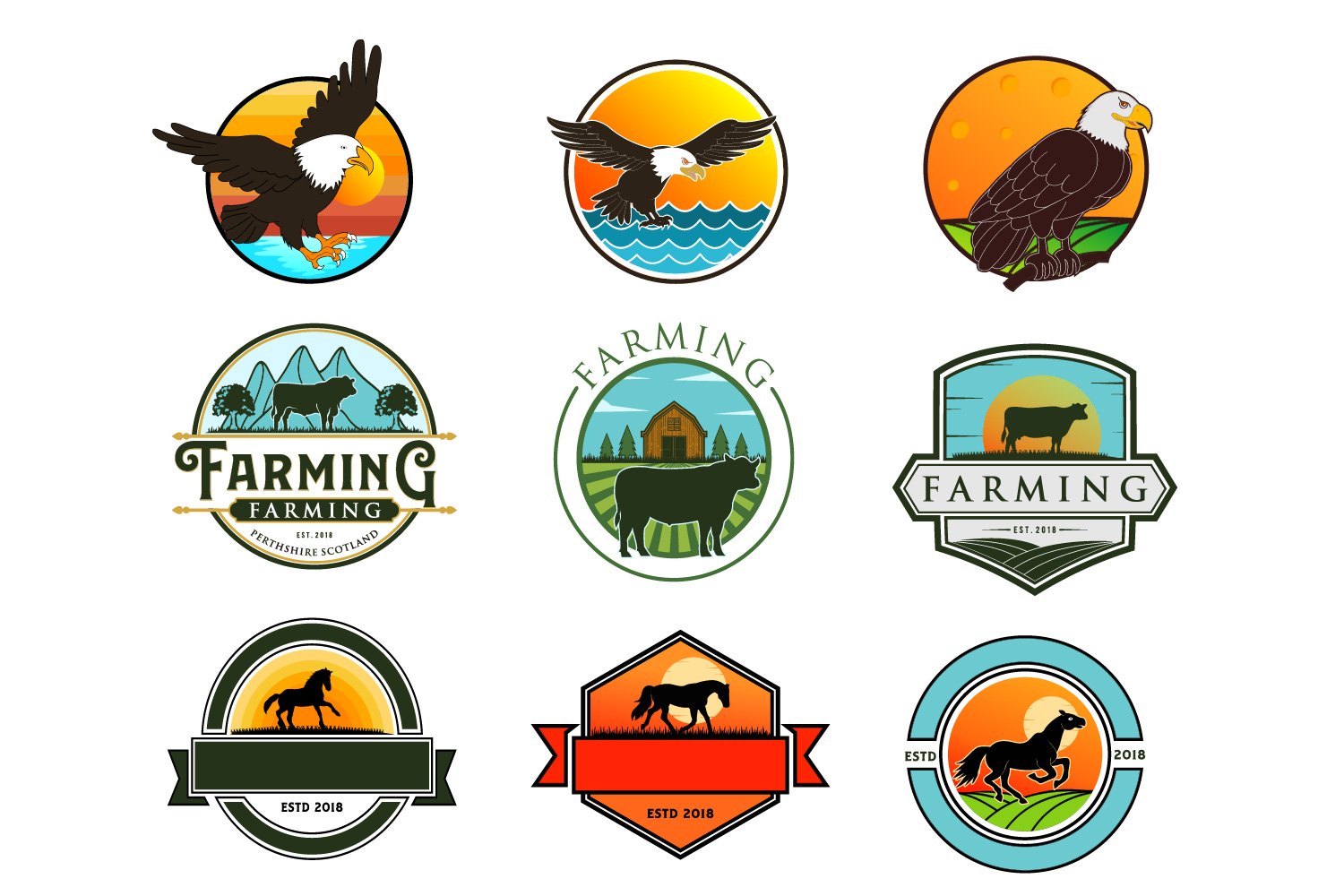 Download Free Cow Horse Eagle Logos Graphic By Graphicrun123 Creative Fabrica for Cricut Explore, Silhouette and other cutting machines.
