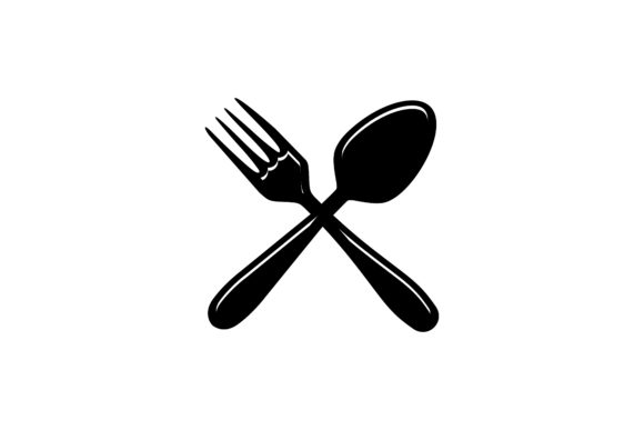 Download Free Crossed Fork And Spoon Logo Graphic By Yahyaanasatokillah for Cricut Explore, Silhouette and other cutting machines.
