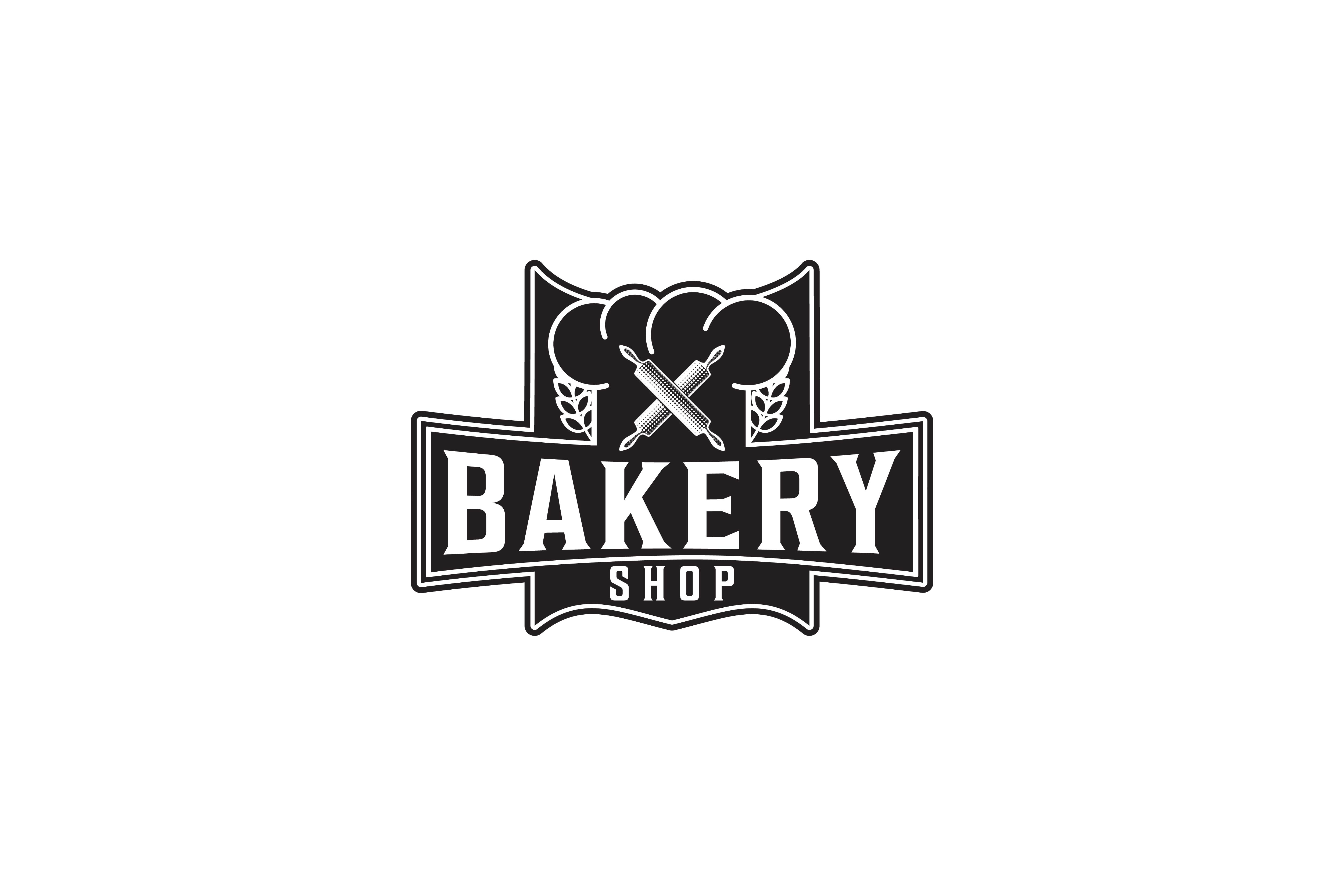 Download Free Crossed Rolling Pin Vintage Bakery Logo Graphic By for Cricut Explore, Silhouette and other cutting machines.