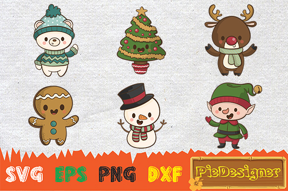Download Free Cute Christmas Character Svg Graphic By Piedesigner Creative for Cricut Explore, Silhouette and other cutting machines.