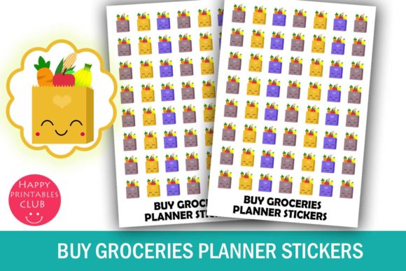 Print on Demand: Cute Grocery Planner Stickers Graphic Crafts By Happy Printables Club