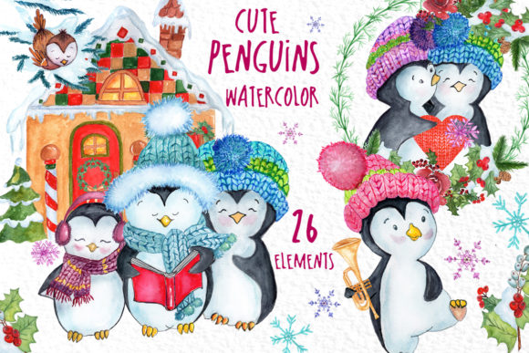 Cute Watercolour Penguins Clip Art Graphic Illustrations By vivastarkids