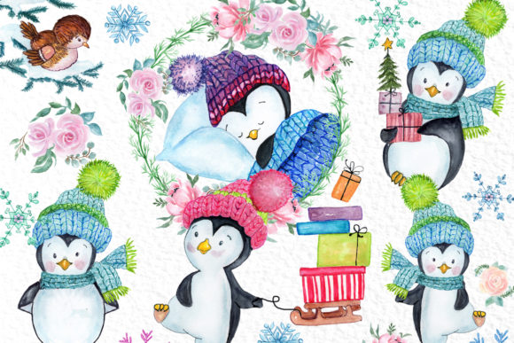 Cute Watercolour Penguins Clipart Graphic Illustrations By vivastarkids