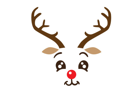 Cute Reindeer Face Navidad Archivo de Corte Craft Por Creative Fabrica Crafts
