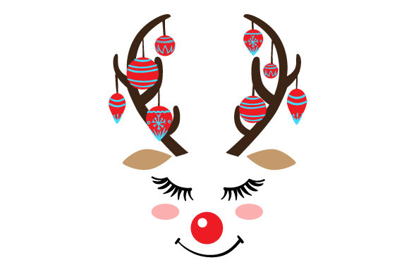 Download Free Cute Reindeer Face Svg Cut File By Creative Fabrica Crafts for Cricut Explore, Silhouette and other cutting machines.