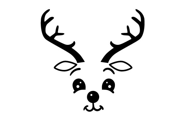 Cute Reindeer Face Cut File Download