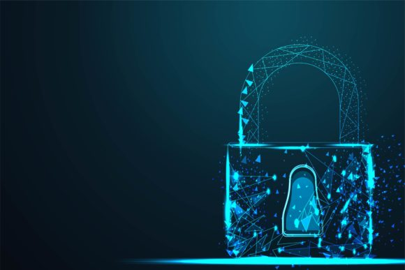 Print on Demand: Cyber Lock Security Padlock Background Graphic Backgrounds By ojosujono96