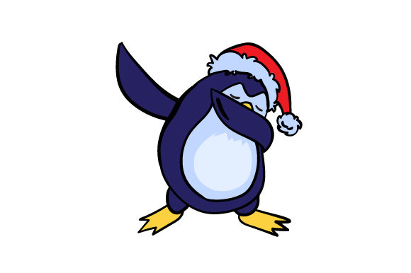 Dabbing Penguin With Santa Hat Svg Cut File By Creative Fabrica