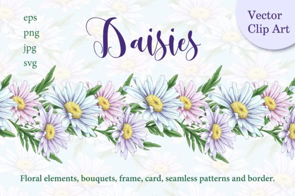 Download Free Daisies Graphic By Nicjulia Creative Fabrica for Cricut Explore, Silhouette and other cutting machines.