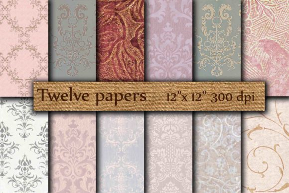 Damask Digital Paper Grafik Hintegründe von twelvepapers