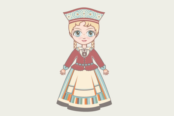 Download Free Doll In Estonian National Dress Estonia Graphic By Zoyali for Cricut Explore, Silhouette and other cutting machines.