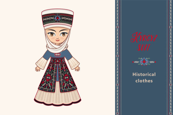 Print on Demand: Doll in Kyrgyz Costume Kyrgyzstan Graphic Illustrations By zoyali