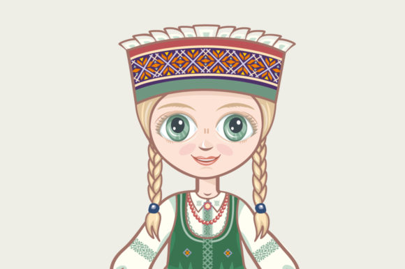Download Free Doll In Lithuanian National Dress Graphic By Zoyali Creative for Cricut Explore, Silhouette and other cutting machines.