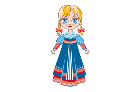 Download Free Doll In Russian National Dress Russia Graphic By Zoyali for Cricut Explore, Silhouette and other cutting machines.