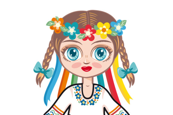 Download Free Doll In Ukrainian National Dress Ukraine Graphic By Zoyali for Cricut Explore, Silhouette and other cutting machines.