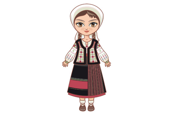 Download Free Doll In A Moldavian Suit Moldavia Graphic By Zoyali Creative for Cricut Explore, Silhouette and other cutting machines.
