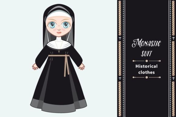 Download Free Doll In A Monastic Dress Nun Grafico Por Zoyali Creative Fabrica for Cricut Explore, Silhouette and other cutting machines.