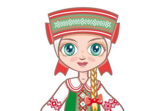 Download Free Doll In The Belarusian National Dress Belarus Graphic By Zoyali for Cricut Explore, Silhouette and other cutting machines.