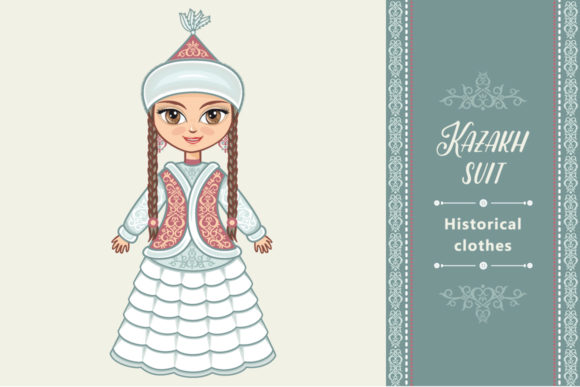 Print on Demand: Doll in the Kazakh National Costume Kazakhstan Graphic Illustrations By zoyali