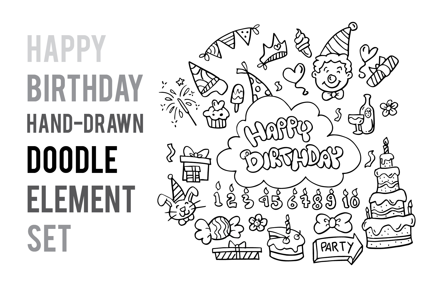 Download Free Doodle Birthday Party Graphic By Icikuhibiniu Creative Fabrica for Cricut Explore, Silhouette and other cutting machines.