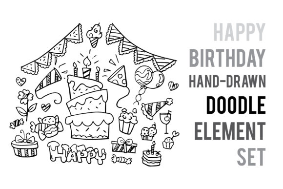 Download Free Doodle Birthday Party Hand Drawn Element Vector Graphic By for Cricut Explore, Silhouette and other cutting machines.
