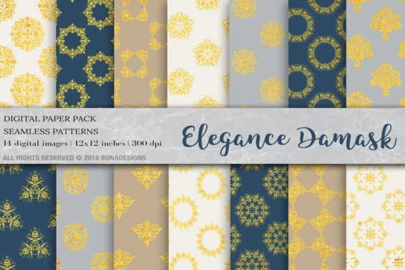 Download Free Elegance Damask Digital Paper Graphic By Bonadesigns Creative for Cricut Explore, Silhouette and other cutting machines.