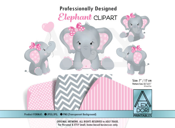 Print on Demand: Elephant Shower for Girls Graphic Illustrations By adlydigital
