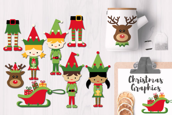 Download Free Elf And Santa S Helpers Christmas Bundle Graphic By Revidevi for Cricut Explore, Silhouette and other cutting machines.