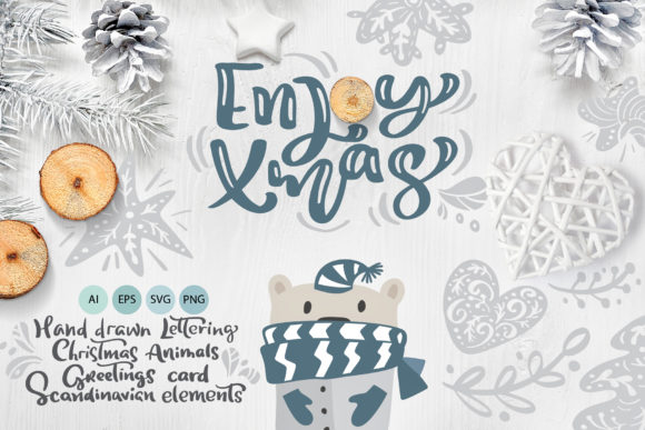 Enjoy Xmas Scandinavian Christmas Design Graphic Objects By Happy Letters
