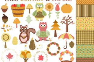 Fall Clipart and Digital Papers Graphic By GreenLightIdeas