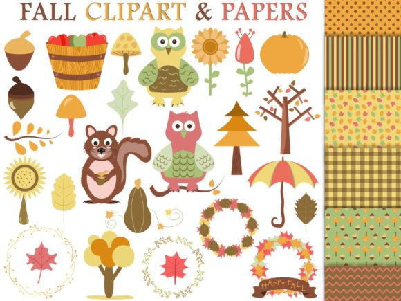 Fall Clipart and Digital Papers Graphic Illustrations By GreenLightIdeas