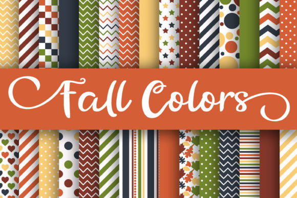 Print on Demand: Fall Colors Digital Papers Graphic Backgrounds By oldmarketdesigns