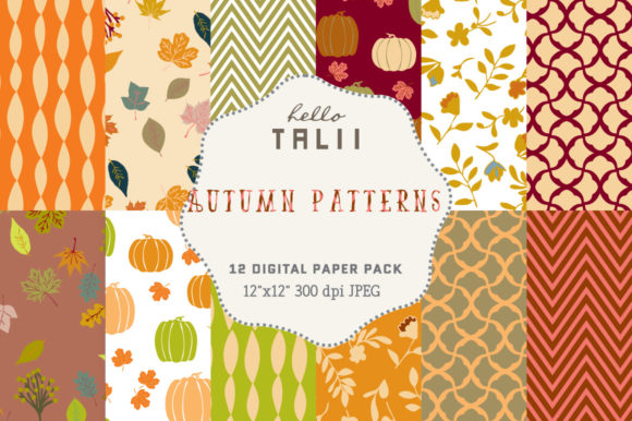 Fall Digital Paper Graphic Patterns By Hello Talii