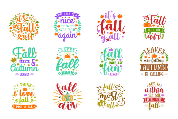 Print on Demand: Fall Quote Bundle Graphic Crafts By graphicrun123