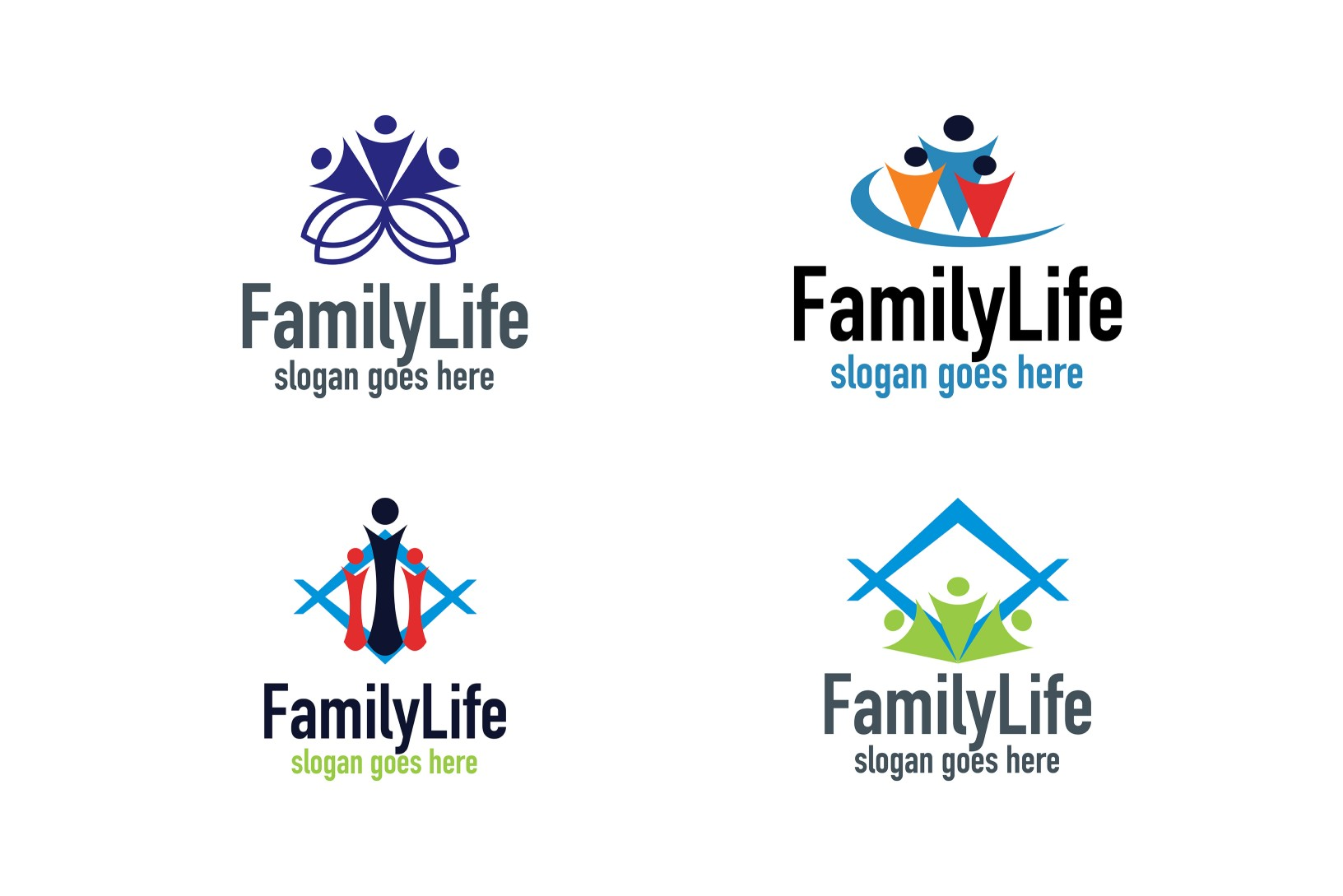 Download Free Family Life Logo Set Graphic By Thehero Creative Fabrica for Cricut Explore, Silhouette and other cutting machines.
