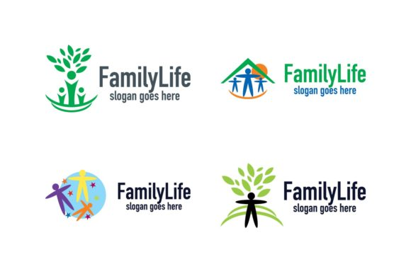Download Free Family Life Logo Set Graphic By Thehero Creative Fabrica SVG Cut Files