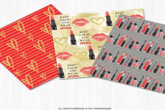 Download Free Fashion Digital Paper Red Lips Background Graphic By SVG Cut Files