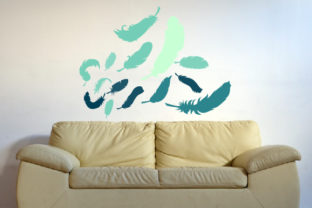 Feathers Silhouettes Being Blown Away, Fits 39x39 Inch Wall Art Craft Cut File By Creative Fabrica Crafts
