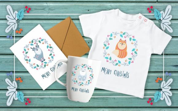 Print on Demand: Floral Christmas Woodland Animals Graphic Crafts By Olga Belova - Image 2