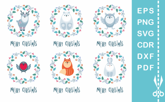 Download Free Floral Christmas Woodland Animals Graphic By Olga Belova Creative Fabrica for Cricut Explore, Silhouette and other cutting machines.