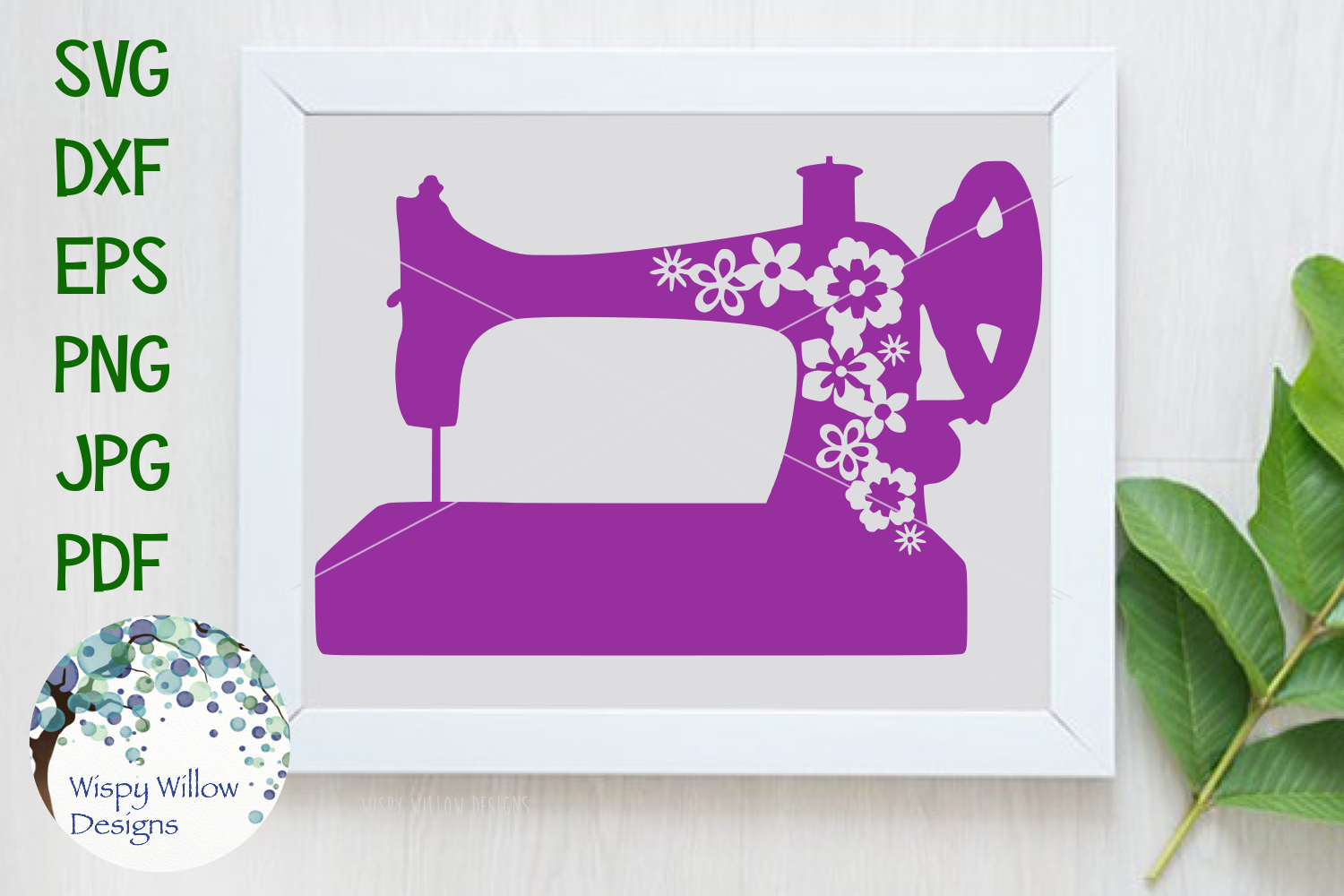 Download Free Floral Vintage Sewing Machine Svg Graphic By Wispywillowdesigns for Cricut Explore, Silhouette and other cutting machines.