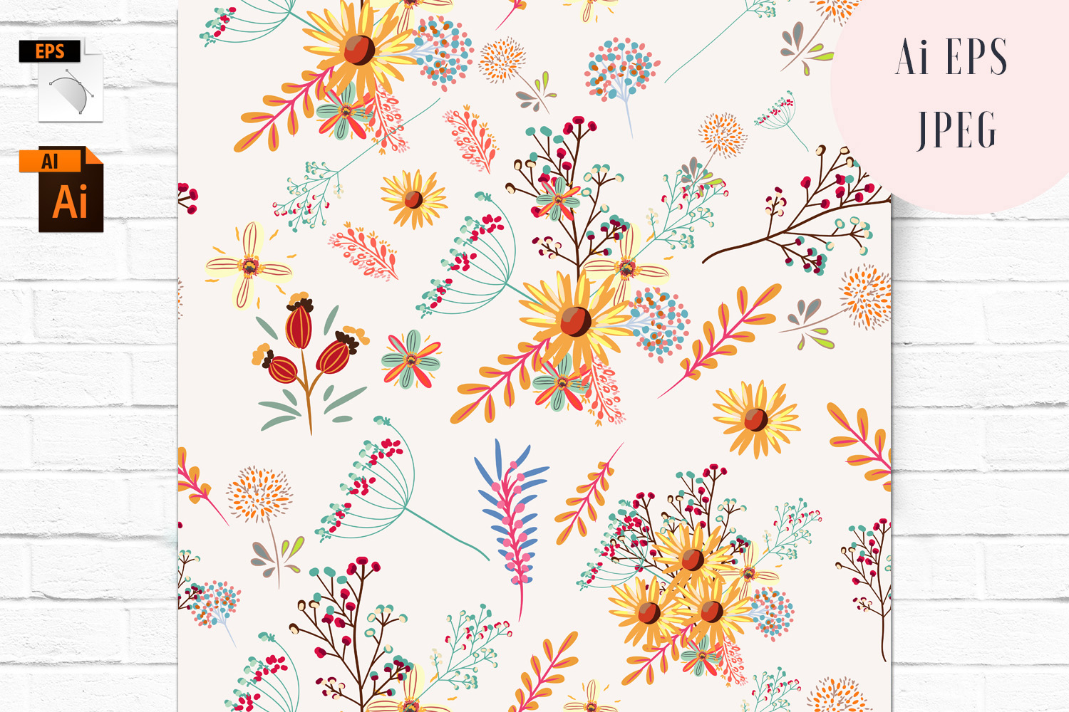 Download Free Floral Vector Seamless Pattern Graphic By Fleurartmariia for Cricut Explore, Silhouette and other cutting machines.